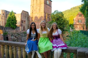 I like wearing long socks with my Dirndl because it can sometimes get chilly at night - Heidelberg, Germany