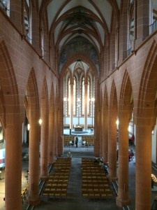 The inside of the Holy Ghost Church still holds church services weekly - Heidelberg, Germany