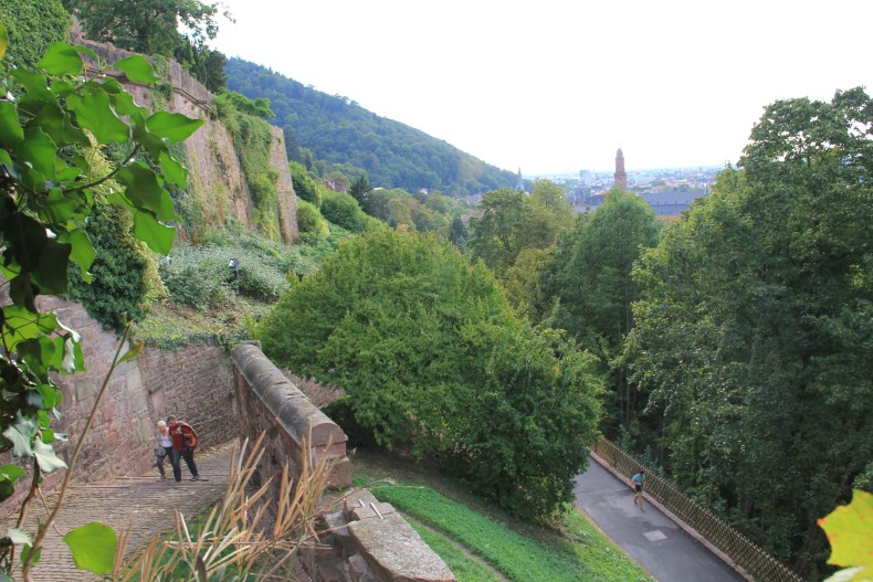 You can see people walking up the hill to get to the castle in the corner - Heidelberg, Germany