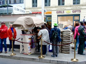 The Visa sign looks inconspicuous but it holds my favorite part of Checkpoint Charlie! - Berlin, Germany