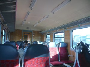 Inside a typical train - Oswiecim, Poland