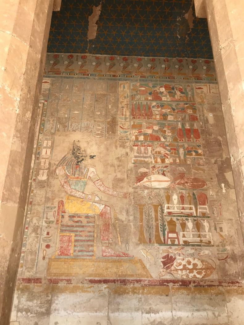Hieroglyphics of Anubis outside of Hatshepsut's Temple
