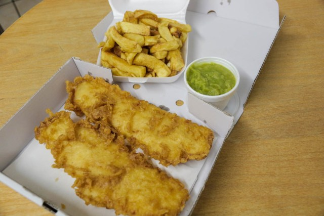 Fish and Chips from Ainsworth Fish and Chips - Scotland Wales London Itinerary BritRail Pass