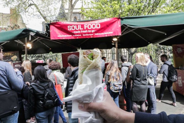 Grilled Chicken Wrap at Borough Market - Scotland Wales London Itinerary BritRail Pass