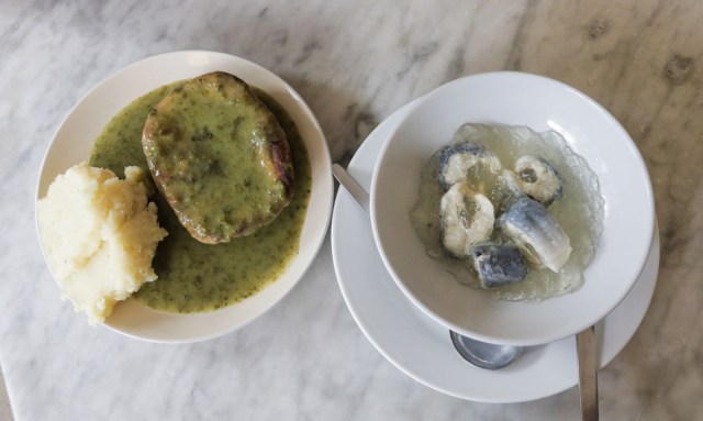 Pie and Mash and Jellied Eels at F Cooke in London - Scotland Wales London Itinerary BritRail Pass