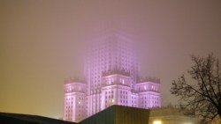 Palace of Culture and Science covered in mist