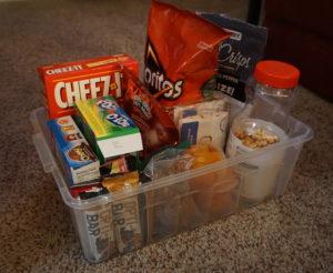 Our rubbermaid bin of easy to grab snacks