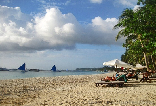 Boracay island, white sand beach in a paradise in the pacific