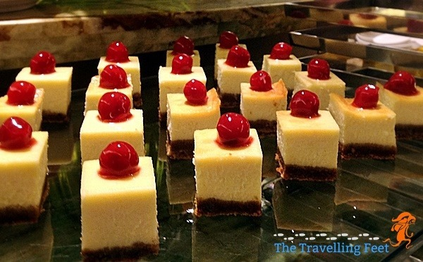 bite-sized leche flan with cherry toppings