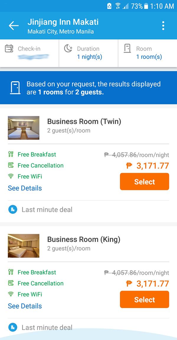 pricing at traveloka app