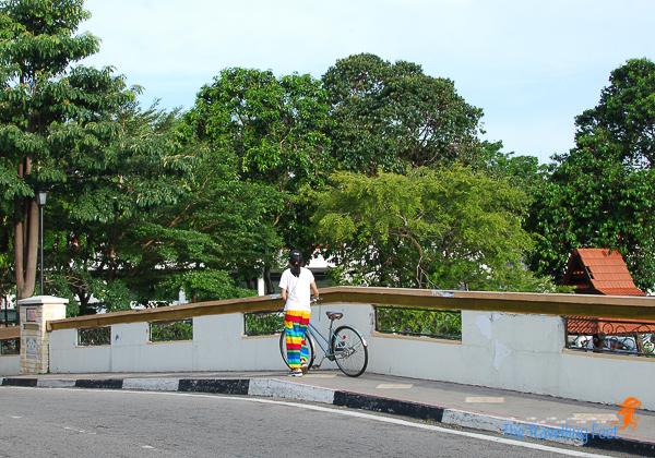 walking by the bridge