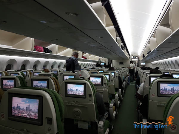 inside the ethiopian airilnes aircraft from manila to brazil