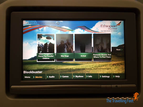 movie choices at Ethiopian Airlines