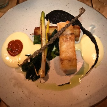 Stone bass, beure blanc and squid ink at Salut in Islington, London