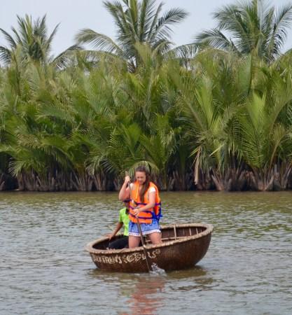 Hoi An Vietnam basket boat rowing
