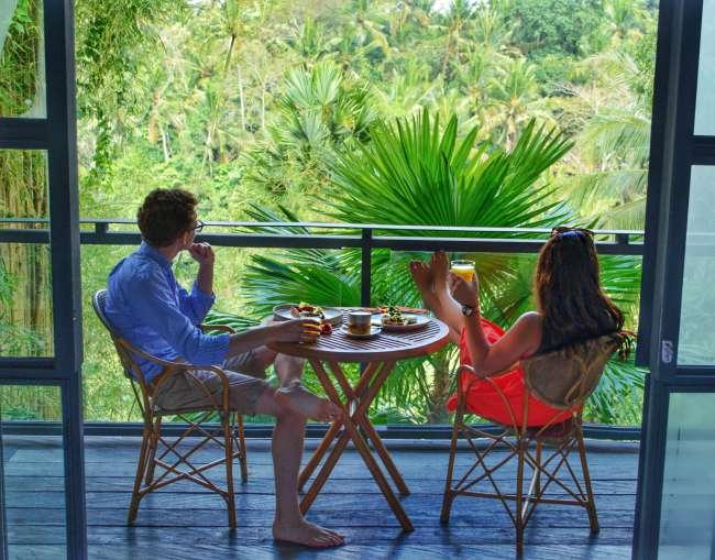 Breakfast on the balcony at Bisma Eight, Ubud, Bali, Indonesia