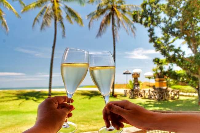 Prosecco toast at La Lucciola in Seminyak, Bali, Indonesia