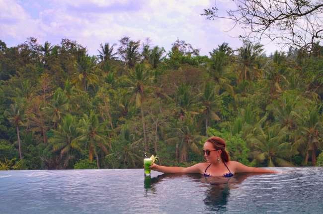 Jungle infinity pool at Bisma Eight, Ubud, Bali, Indonesia
