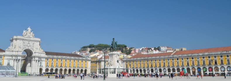 Praca Commercial panorama in Lisbon, Portugal