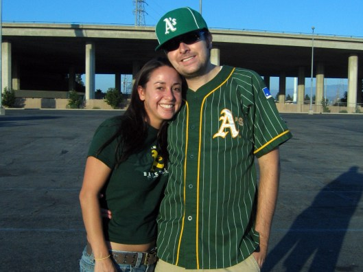 Aaron and I at A's game