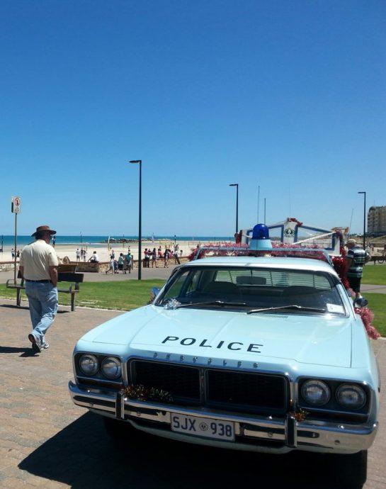 Police Car Glenelg beach