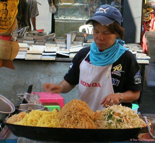 Woman making Pad Thai, Bangkok