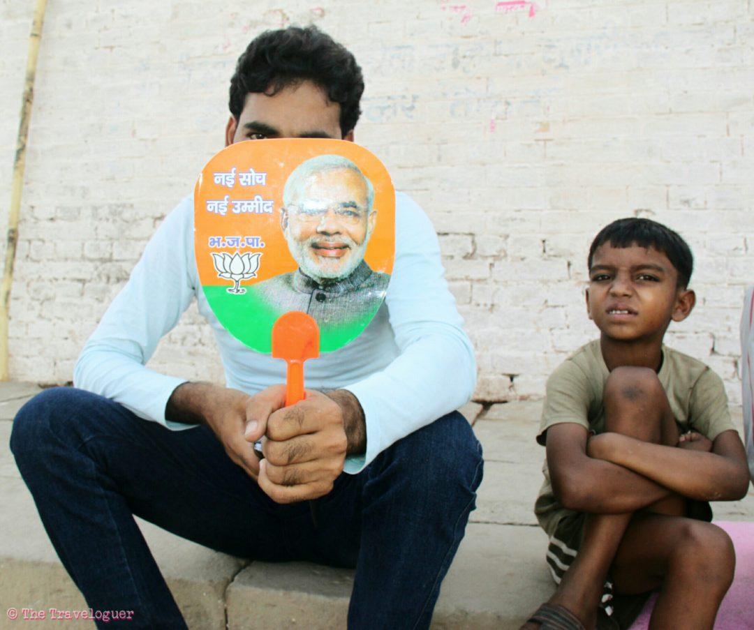 Modi Supporters, Varanasi. Indian General Elections 2014