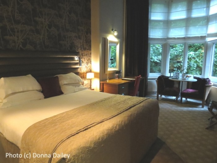 Our guest bedroom at the historic Jesmond Dene House boutique hotel in Newcastle, England