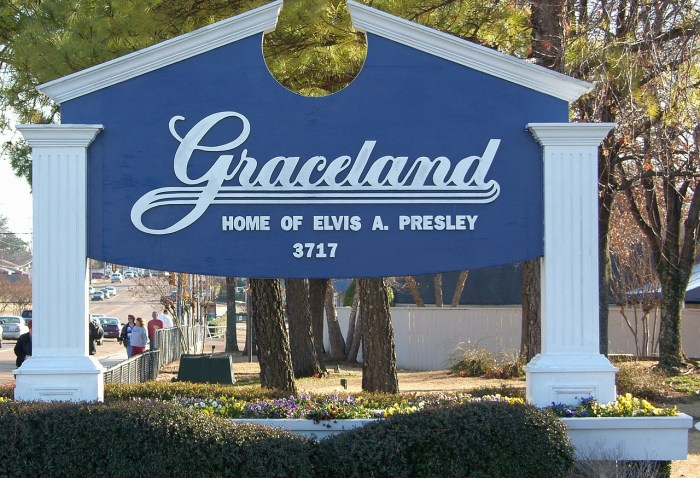 The sign outside Graceland, Elvis Presley's home in Memphis, Tennessee