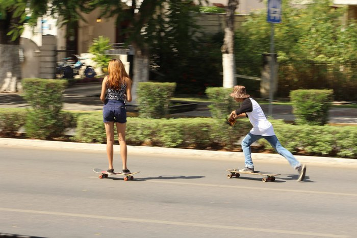 Children skateboarding On the Paseo de Montejo in Merida, Yucatan, Mexico