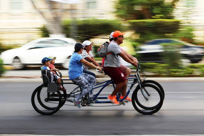 Family on a bicycle in Merida, Yucatan, Mexico