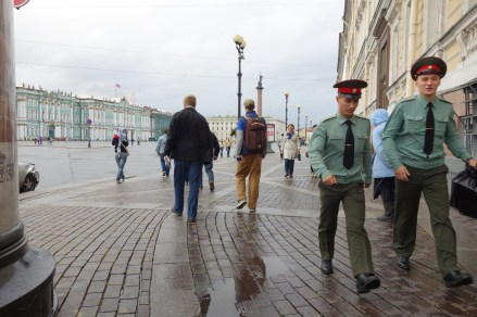 A soldier marches past us as we head towards the Winter Palace.