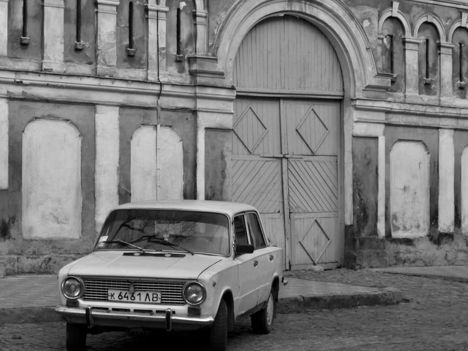 An old car in Lviv, Ukraine, photo by Dom Nemer