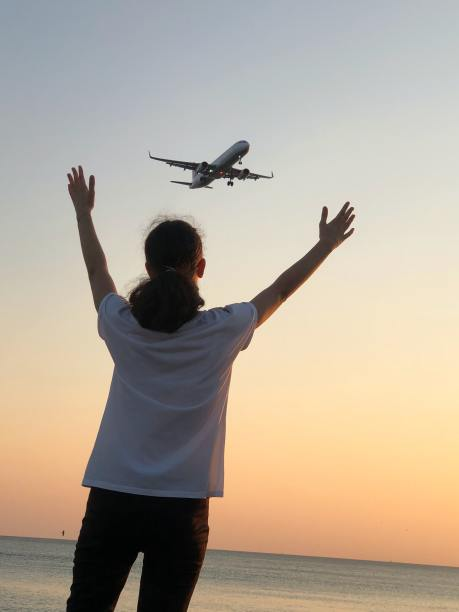 'Wait for me!' A man waving at a plane