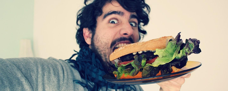 Man holding a big sandwich