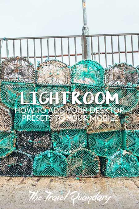 Green and grey fishing nets piled up on the harbour at Isle of Skye, Scotland, United Kingdom