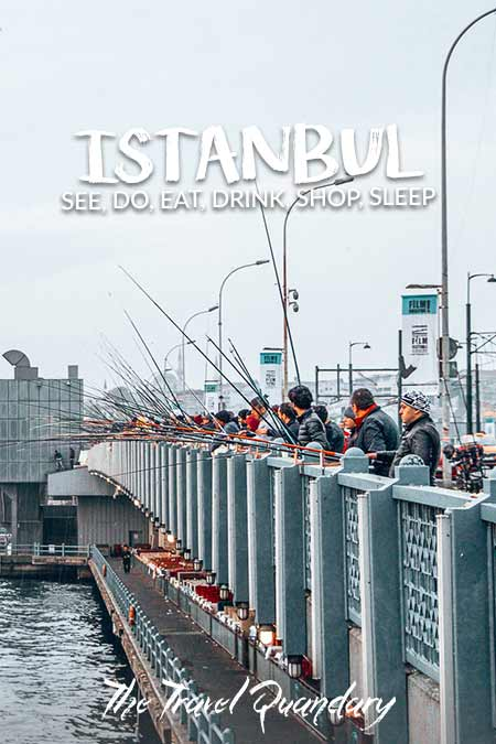 Pin Photo: Fisherman wait patiently with their rods on the Galata Bridge, Istanbul