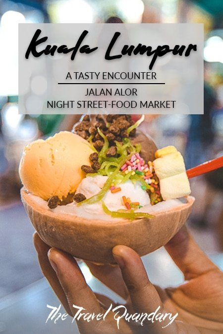 Pin Photo: A bowl of ice cream with cendol in a coconut at Jalan Alor Street Food Market