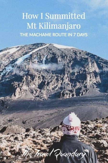 Pin to Pinterest: Looking up at the peak of Mt Kilimanjaro
