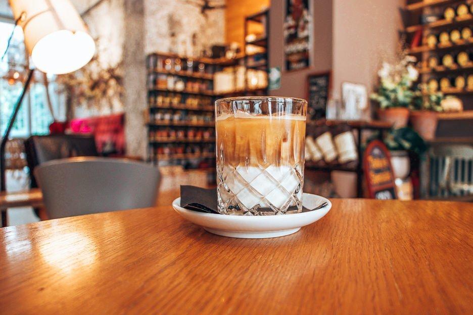 An iced coffee at La Boheme Cafe, Prague