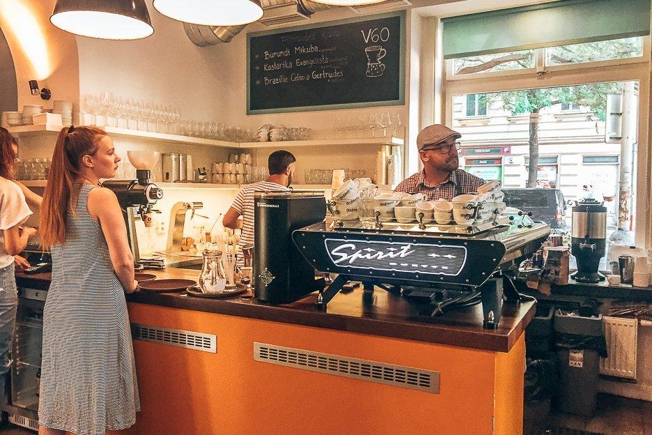 Coffee counter at Můj šálek kávy, Coffee in Prague