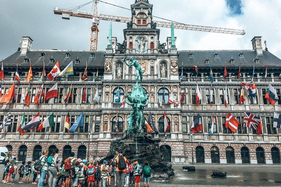Brabomonument at Grote Markt, Antwerp Belgium