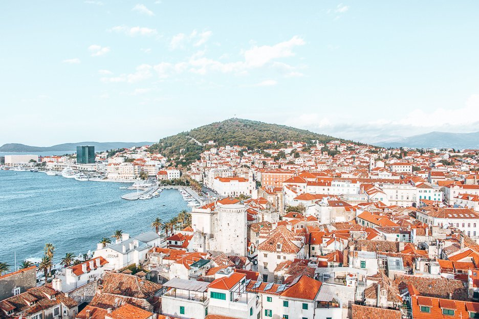 Looking out over the red rooftops and harbour of Split Croatia