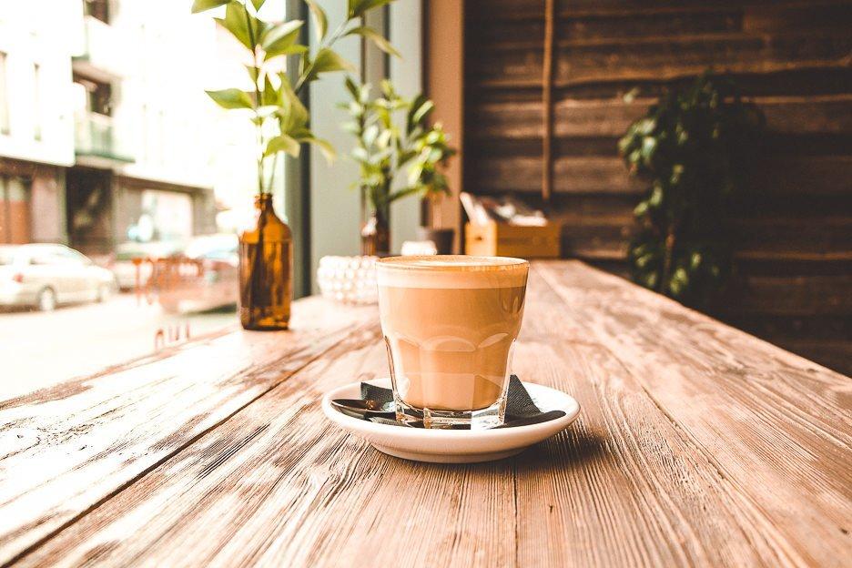 Hot latte at Rocket Bean Roastery, Riga Latvia