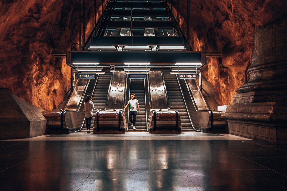 Fiery depths of Stockholm metro stations - Stockholm, Sweden