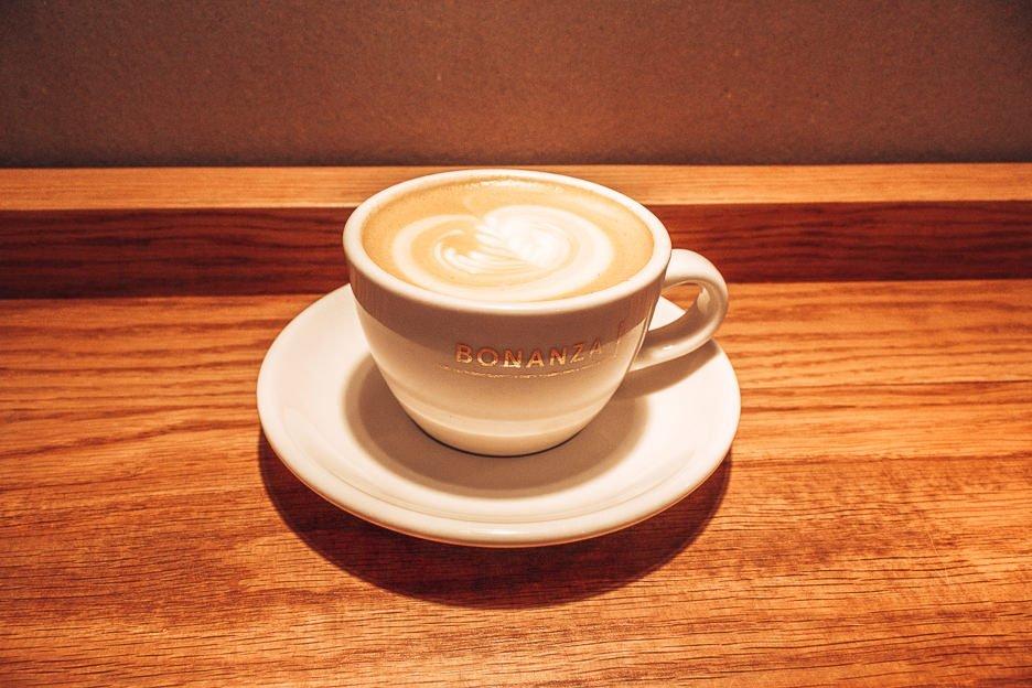 A hot latte at Bonanza Coffee, Berlin Germany