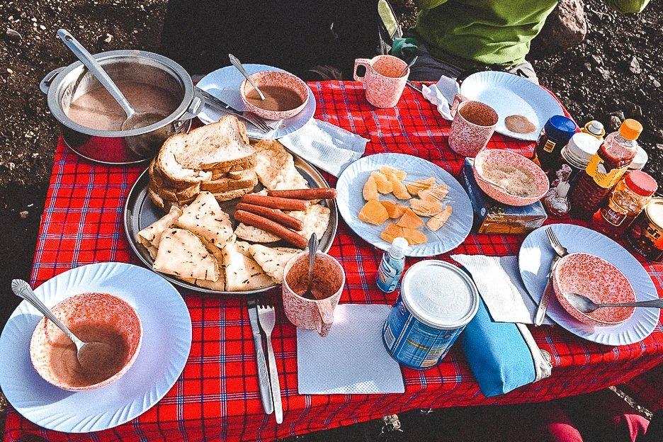 Breakfast spread whilst hiking Mt Kilimanjaro