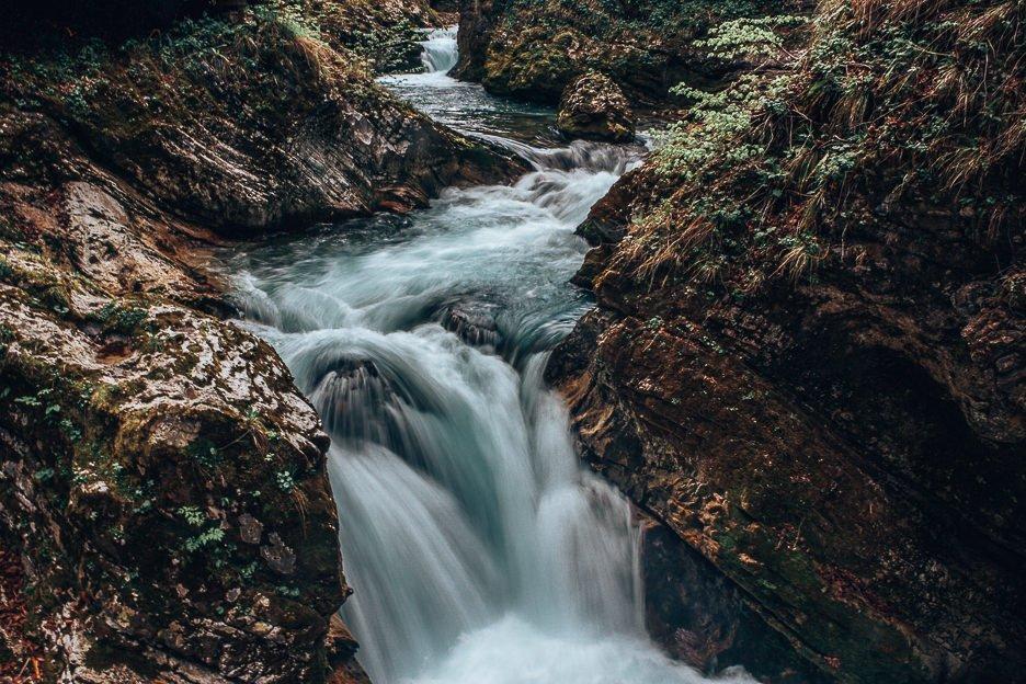 Waterfall at Vintgar Gorge, Lake Bled, Slovenia