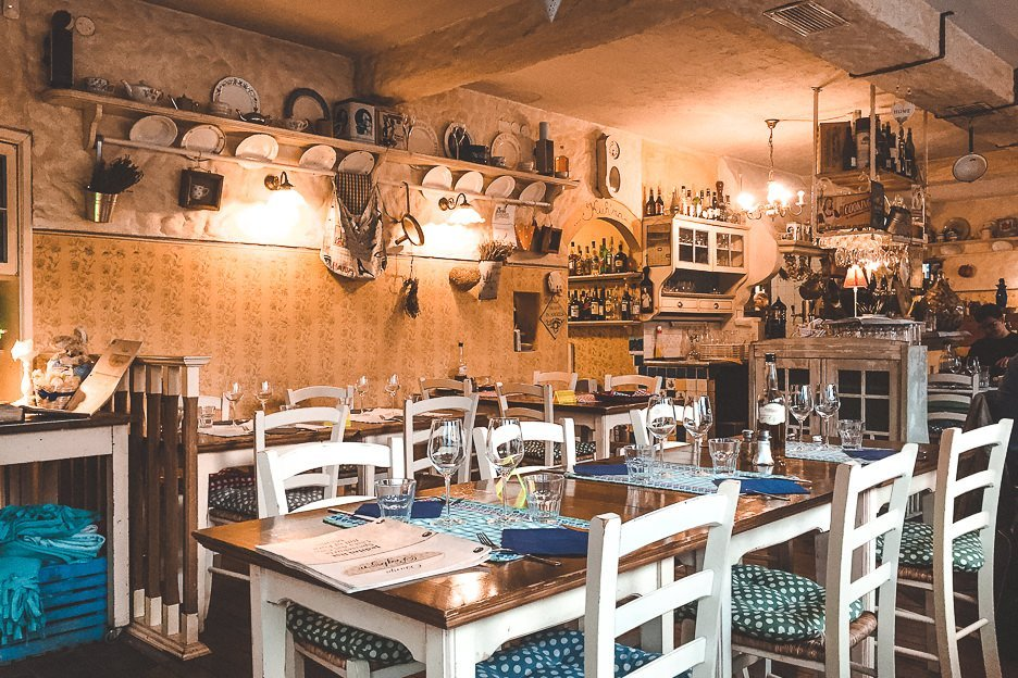 The interior of Restaurant Oštarija Peglez'n, Lake Bled Slovenia