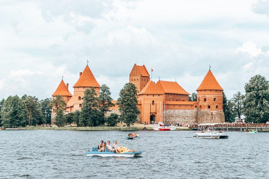 Paddleboats outside Trakai Castle, Vilnius